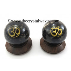 Black Tourmaline Chips Orgone Ball Sphere With Om Symbol