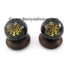 Black Tourmaline Chips Orgone Ball Sphere With Yantra Symbol