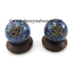 Lapis Lazuli Chips Orgone Ball Sphere With Om Symbol