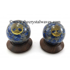 Lapis Lazuli Chips Orgone Ball Sphere With Tree Of Life Symbol