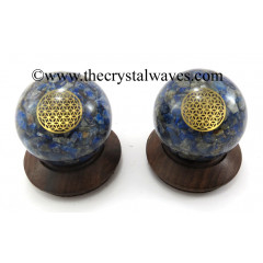 Lapis Lazuli Chips Orgone Ball Sphere With Flower Of Life Symbol