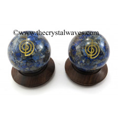 Lapis Lazuli Chips Orgone Ball Sphere With Cho Ku Rei Symbol