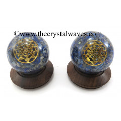 Lapis Lazuli Chips Orgone Ball Sphere With Yantra Symbol