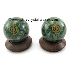 Green Aventurine Chips Orgone Ball Sphere With Cho Ku Rei Symbol
