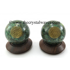 Green Aventurine Chips Orgone Ball Sphere With Flower Of Life Symbol
