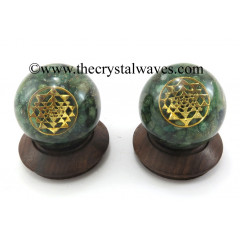 Green Aventurine Chips Orgone Ball Sphere With Yantra Symbol
