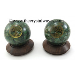 Green Aventurine Chips Orgone Ball Sphere With Tree Of Life Symbol