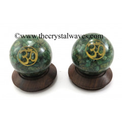 Green Aventurine Chips Orgone Ball Sphere With Om Symbol