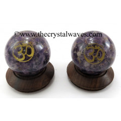 Amethyst Chips Orgone Ball Sphere With Om Symbol