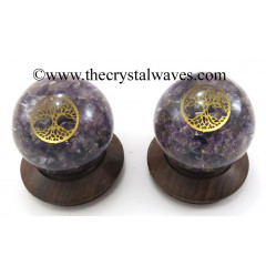 Amethyst Chips Orgone Ball Sphere With Tree Of Life Symbol