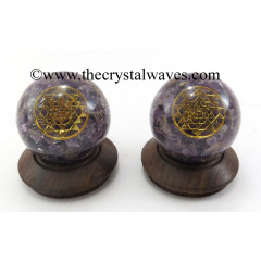 Amethyst Chips Orgone Ball Sphere With Yantra Symbol