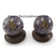 Amethyst Chips Orgone Ball Sphere With Cho Ku Rei Symbol