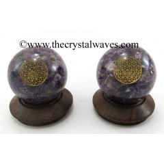 Amethyst Chips Orgone Ball Sphere With Flower Of Life Symbol