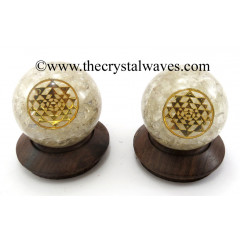 Crystal Quartz Chips Orgone Ball Sphere With Yantra Symbol