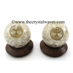 Crystal Quartz Chips Orgone Ball Sphere With Tree Of Life Symbol