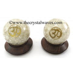 Crystal Quartz Chips Orgone Ball Sphere With Om Symbol
