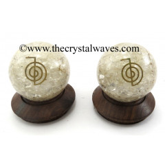 Crystal Quartz Chips Orgone Ball Sphere With Cho Ku Rei Symbol