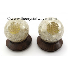 Crystal Quartz Chips Orgone Ball Sphere With Flower Of Life Symbol
