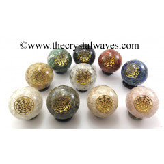 Mix Assorted Gemstone Chips Orgone Ball Sphere With Yantra Symbol