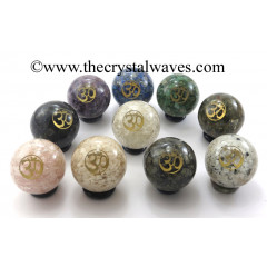 Mix Assorted Gemstone Chips Orgone Ball Sphere With Om Symbol