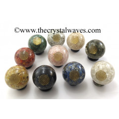 Mix Assorted Gemstone Chips Orgone Ball Sphere With Flower Of Life Symbol