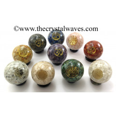 Mix Assorted Gemstone Chips Orgone Ball Sphere With Mix Assorted Symbol