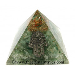 Green Aventurine (Light) Chips Orgone Pyramid With Hamsa Symbol