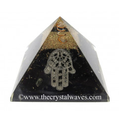Black Tourmaline Chips Orgone Pyramid With Hamsa Symbol