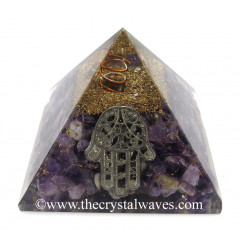 Amethyst Chips Orgone Pyramid With Hamsa Symbol