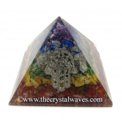 7 Chakra Layered Chips Orgone Pyramid With Hamsa Symbol