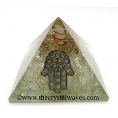 Crystal Quartz Chips Orgone Pyramid With Hamsa Symbol