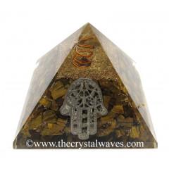 Tiger Eye Agate Chips Orgone Pyramid With Hamsa Symbol