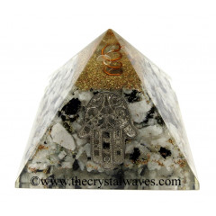 Rainbow Moonstone Chips Orgone Pyramid With Hamsa Symbol
