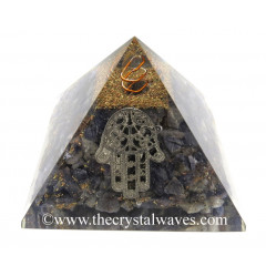 Blue Aventurine Chips Orgone Pyramid With Hamsa Symbol