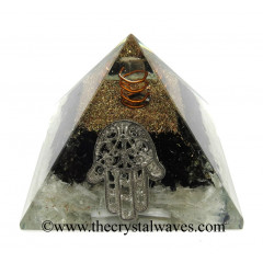 Black Tourmaline & Selenite Chips Orgone Pyramid With Hamsa Symbol