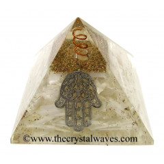 Selenite Chips Orgone Pyramid With Hamsa Symbol