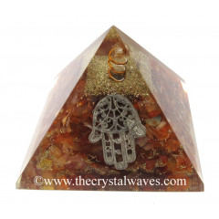 Carnelian Chips Orgone Pyramid With Hamsa Symbol
