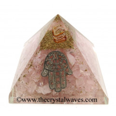 Rose Quartz Chips Orgone Pyramid With Hamsa Symbol