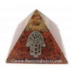 Red Jasper Chips Orgone Pyramid With Hamsa Symbol