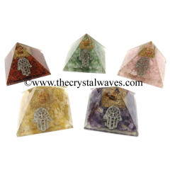Mix Assorted Gemstone Chips Orgone Pyramid With Hamsa Symbol