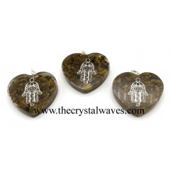 Tiger Eye Agate Chips With Hamsa Symbol Heart Shape Orgone Pendant