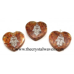 Carnelian Chips With Hamsa Symbol Heart Shape Orgone Pendant
