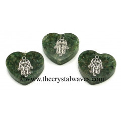 Green Aventurine Chips With Hamsa Symbol Heart Shape Orgone Pendant