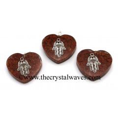 Red Jasper Chips With Hamsa Symbol Heart Shape Orgone Pendant