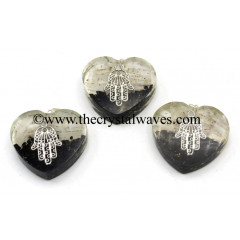 Black Tourmaline & Selenite Chips With Hamsa Symbol Heart Shape Orgone Pendant