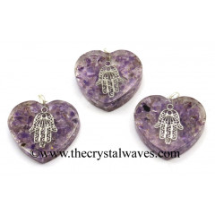 Amethyst Chips With Hamsa Symbol Heart Shape Orgone Pendant