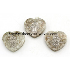 Crystal Quartz Chips With Hamsa Symbol Heart Shape Orgone Pendant