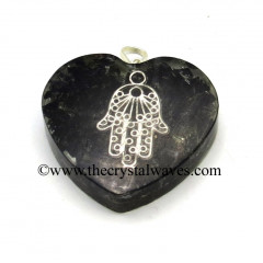 Black Tourmaline Chips With Hamsa Symbol Heart Shape Orgone Pendant