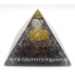 Blue Aventurine Chips Big  Orgone Pyramid With Crystal Quartz Angel And Flower Of Life