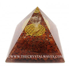 Red Jasper Chips Big  Orgone Pyramid With Crystal Quartz Angel And Flower Of Life
